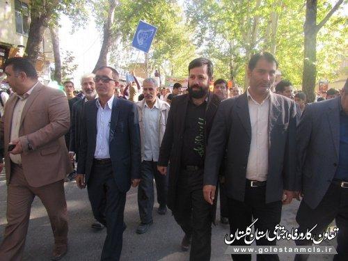 حضور کارکنان اداره تعاون، کار و رفاه اجتماعی مینودشت در راهپیمایی 13 آبان