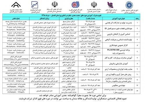 تقویم آموزشی (خردادماه) حوزه های صنعت، معدن، تجارت و کشاورزی استان گلستان